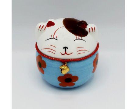 Plutus kočička - keramická, ručně malovaná, modrá 11 cm