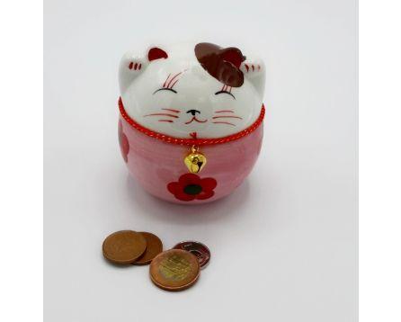 Plutus kočička pokladnička - keramická, ručně malovaná, červená 11 cm