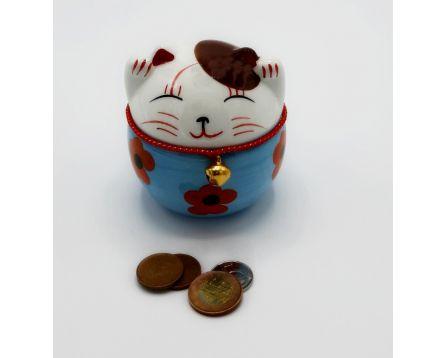 Plutus kočička pokladnička - keramická, ručně malovaná, modrá 11 cm